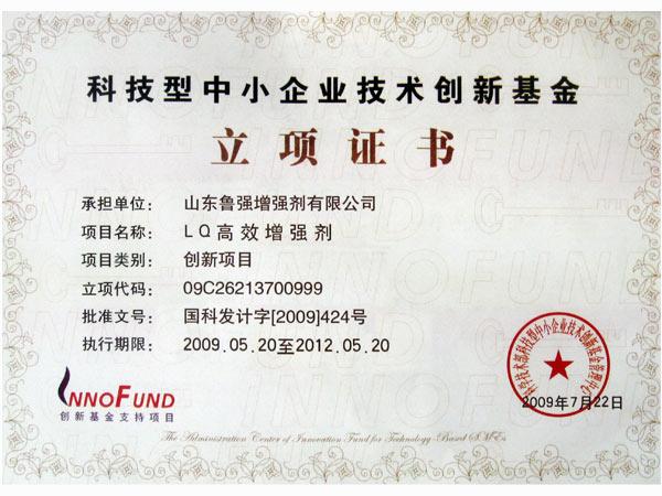 科技型企业技术创新基金立项证书